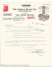 4191 Merritt G. Rasin, American Belting 1926 letterhead Watsontown, PA Carzak >