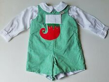 Boys boutique Christmas romper outfit 24 months 2T stocking white dress shirt