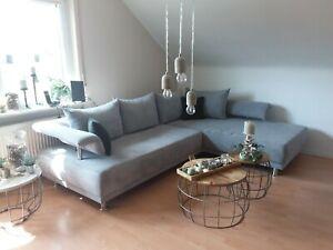 Sofa, Ecksofa,  Couch, Ottomane, grau, NW
