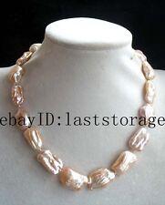 "freshwater pearl pink biwa baroque reborn keshi 18-23mm necklace 17"" nature"