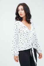 NEW WOMEN'S  LOOK WHITE / BLACK POLKA DOT TOP / BLOUSE SIZE SMALL OUTFIT