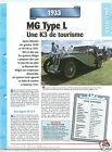 MG Type L Midget Coupe 6 Cyl. 1933 UK England Car Auto Retro FICHE FRANCE