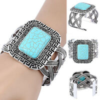 Vintage Tibetan Silver Turquoise Bracelet Bangle Cuff Adjustable Boho Jewelry*