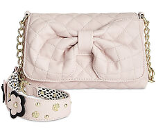 Betsey Johnson Pink Blush Floral Quilted Bow Flap Shoulder Bag NWT