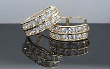 14K Yellow Gold Channel Set Huggie Hoop Solitaire Earrings 2.00Ct