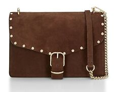 NWT $295 REBECCA MINKOFF SUEDE / LEATHER CHOCOLATE MEDIUM BIKER CROSSBODY PURSE