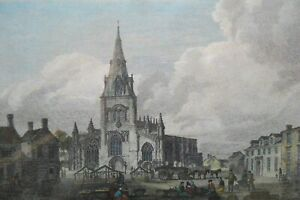 Sleaford Church antique Geoirgian 1801 engraving by Howlett after JMW Turner