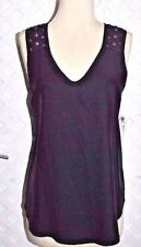 MARK & JAMES Badgley Mischka BLACK  SILK SLEEVELESS EMBELLISHED  BLOUSE XS New
