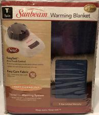 Sunbeam Heated Blanket Twin Size Electric Fleece Warming Winter Bedding Navy NEW