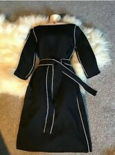 Boden Fully Lined Black Dress white Piped Trim tie Front Sz 10 Monochrome