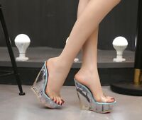 Women Sexy Clear Wedge High Heel Wedge Mule Platform Sandals Slip on Shoes