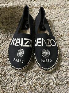 Kenzo Paris Logo Print Flat Espadrilles Black Canvas Shoes Size 36 US 5