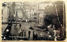 c. 1907 - 1911 STAUNTON, VA, STREET CAVE IN DISASTER SCENE POSTCARD