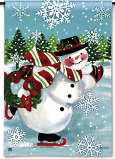 """SNOWY SKATER Snowman with Wreath CHRISTMAS HOLIDAY 12.5"""" x 18"""" Small Banner Flag"""
