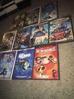 🔥10 Dvd Lot The Incredibles Nemo Frozen Stitch Mulan Jungle Book Terabithia &
