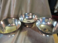 1 Paul revere repro. silver bowl and 2 Sheridan of taunton silversmiths ltd. 6""