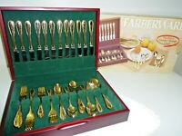 Farberware Gold Plated Stainless Flatware Set 64 Total W/Serving Pieces & Case