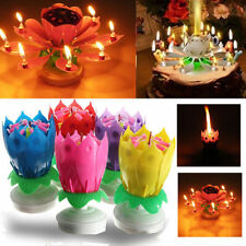 Musical Lotus Flower Double-deck Blossom Birthday Candle Party Decoration Fun uk