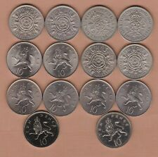 More details for 14 different florins and ten pence coins dated 1948 to 1991 in a high grade