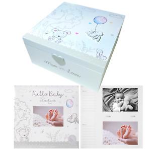Baby Photo Album & Wooden Memories Box Milestone First 1st Photo Scrapbook