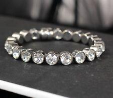 UK SPARKLY magnetic RHINESTONE BRACELET crystal SILVER TONE round stones BANGLE