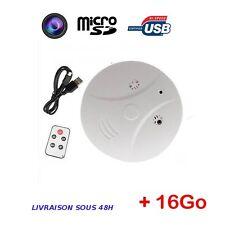 Caméra espion detecteur de fumée télécommande caméra surveillance sécurité +16Go