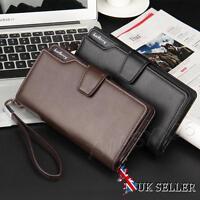 UK Mens Long Wallet Real Leather Zipper Purse Business Credit Card Holder Bifold