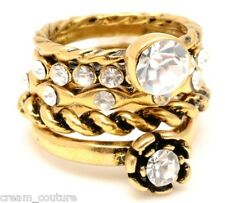 Amrita Singh Betty 5 Stack Rings with Crystals Size 8 NEW $100 RC324 18KGP