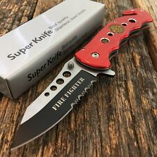 """TACTICAL 8"""" RED FIRE FIGHTER Police Rescue Spring Assisted Open Pocket Knife -F"""