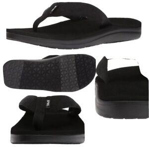 Teva Voya Flip Flops Sandals Mens 13 Black EVA Lightweight Foam Webbing Vegan