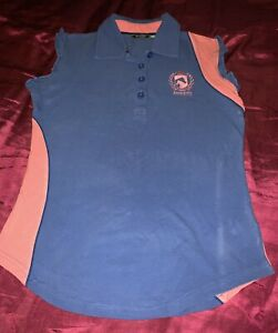 Requisite Equestrian Horse Riding Blue &Pink Cotton Polo Shirt Size 10