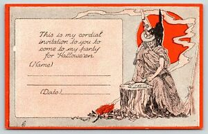 Halloween~Party Invitation~Witch Plays Cards~Black Cat on Shoulder~ART DECO Moon