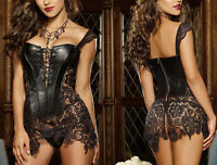 Basque Gothic Black Faux Leather Corset Bustier TOP Sexy Lace Dress Size UK 6-24