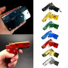 Rubber Band Gun Mini Metal Folding 6-Shot with Keychain and Rubber Band 100+