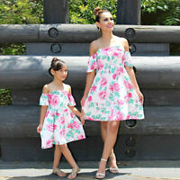 Mother and Daughter Matching Dress Floral Off Shoulder Short Party Maxi Dresses