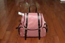 NWT Michael Kors $298 Leila Small Flap Nylon Backpack Handbag Rose/Gold Pink