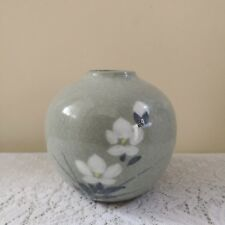 Small Celadon Handpainted with Crackled Design Vase