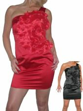 Ladies Satin Mini Party Dress With Big Flower Detail  8-12