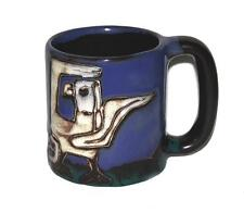 Large Mara Embossed White Eagle Mountains Blue Mug Mexico Pottery UNUSED HTF