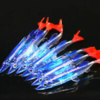 5pcs 3D Minnow Night Plastic Fishing Lure Crank Bait Hooks Bass Crankbait Tackle