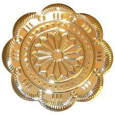 P2636 Fancy Flower Medallion Gold 60mm Flat Scalloped Round Metal Pendant 2pc