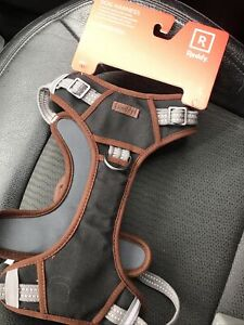 REDDY Dog Harness NEW COLOR, Lrg ,Adjustable Grey  with Brown leather/Handle.