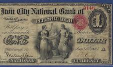 PA ORIGINAL(1865) $1 ♚♚PITTSBURGH,PENNSYLVANIA♚♚ THE IRON CITY NB  PCGS FINE 15