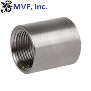 """2-1/2"""" 150 Female (NPT) Full Coupling 304 Stainless Steel Coupler <SS051041304"""