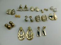 Vintage Lot Of 12 Pairs Of Clip On Earrings Gold Tone   A2