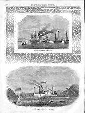 Bateaux à Vapeur Voyage Etats-Unis Nouvelle Orléans Alabama Albany GRAVURE 1848
