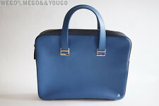 Dunhill Bourdon Blue Single Document Case Slim Briefcase made in Italy