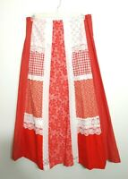 Vintage Patchwork 70s Maxi Skirt Red White Hippie Boho / Mrs. Claus Costume LRG