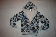 Boys GRAY THICK JACKET Sherpa Lined BLUE BLACK ABSTRACT SQUARES Zip Front SIZE S