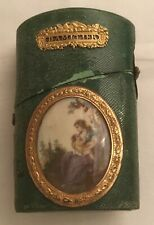 Antique 18th century French gilt mounted and painted inset shagreen covered néce